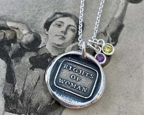 rights of woman wax seal necklace