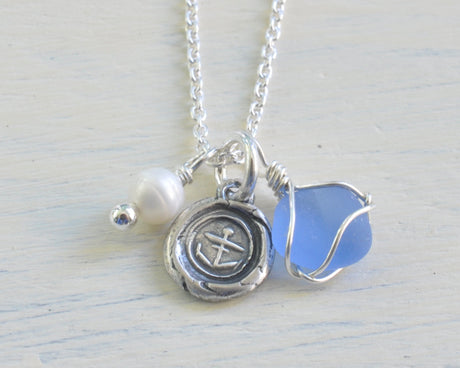 anchor wax seal, sea glass, and pearl charm necklace - hope, stability