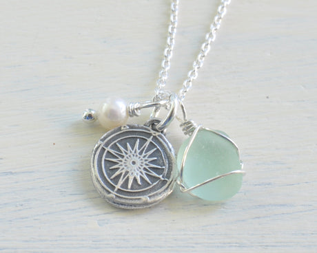 compass wax seal, sea glass, pearl charm necklace - follow your inner compass