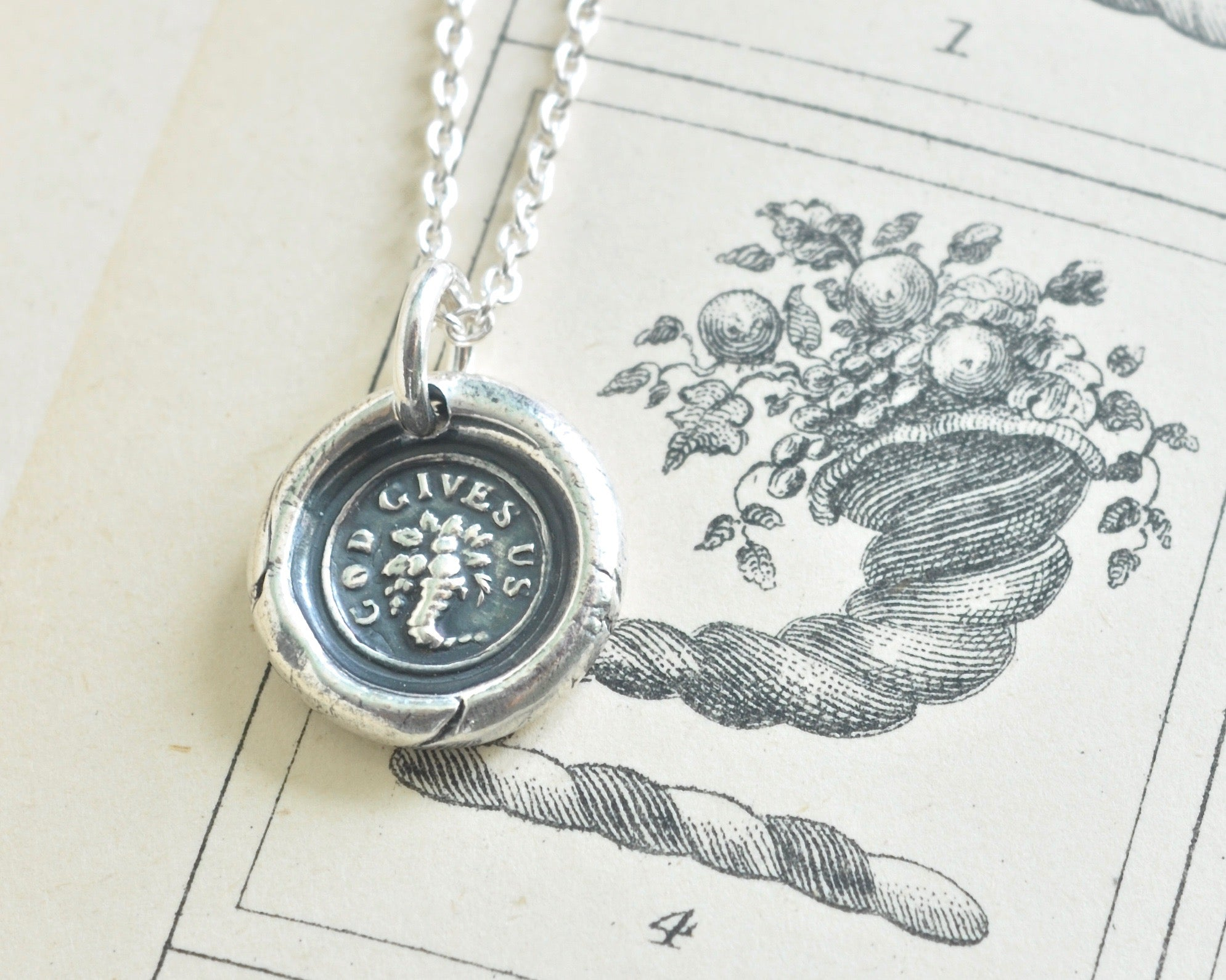 Cornucopia wax seal necklace god gives us horn of plenty cornucopia wax seal necklace mozeypictures