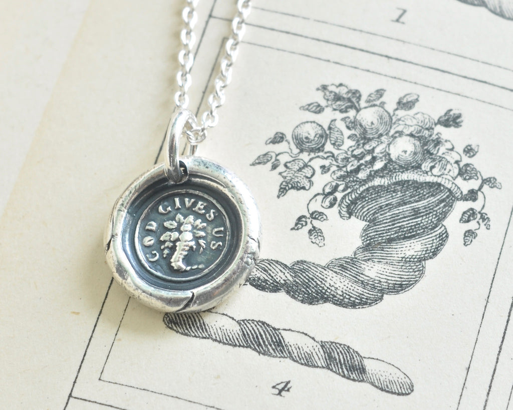 cornucopia wax seal necklace