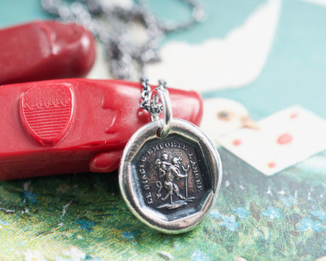 the devil with love wax seal necklace