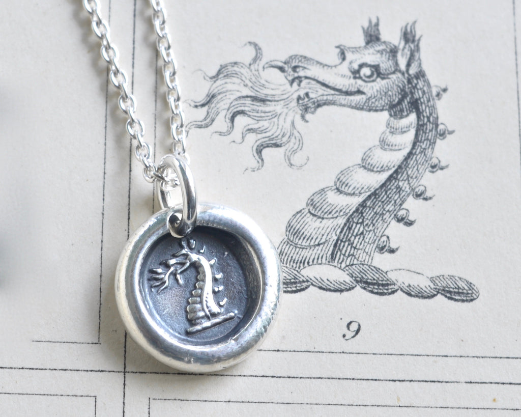 fire breathing dragon wax seal necklace