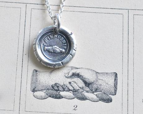 hand in hand wax seal necklace