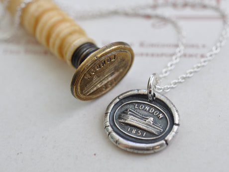 Crystal Palace wax seal necklace - London 1851 - Great Exhibition souvenir