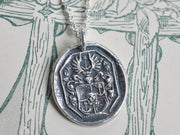 skull and winged anchor family crest wax seal necklace - hope, protection, mortality