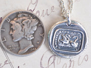 two swans wax seal pendant