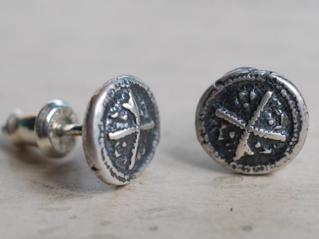 medieval cross wax seal stud earrings