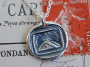 mountain sunset wax seal necklace - I will return - going away gift