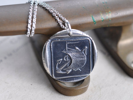 anchor and sail wax seal necklace - NIL DESPERANDUX - let us not despair