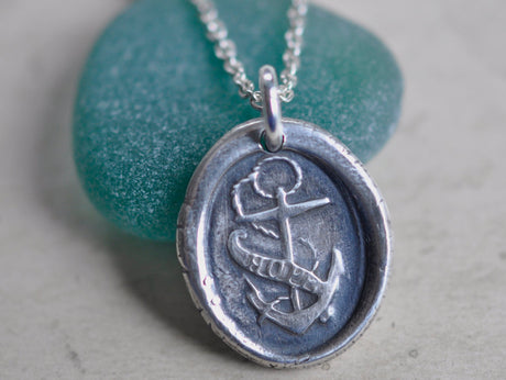 fouled anchor wax seal necklace