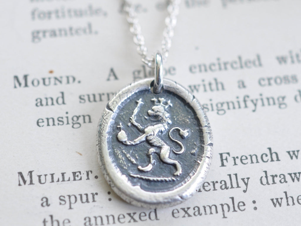 lion wax seal necklace - courage, faith, authority - medieval wax seal