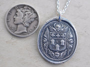 winged cherubs and crosses wax seal necklace - dignity, glory, faith