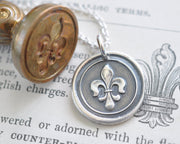 fleur de lis wax seal necklace - perfection, light and life