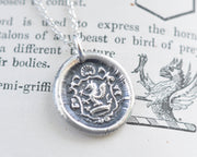 medieval griffin wax seal necklace - wax seal jewelry