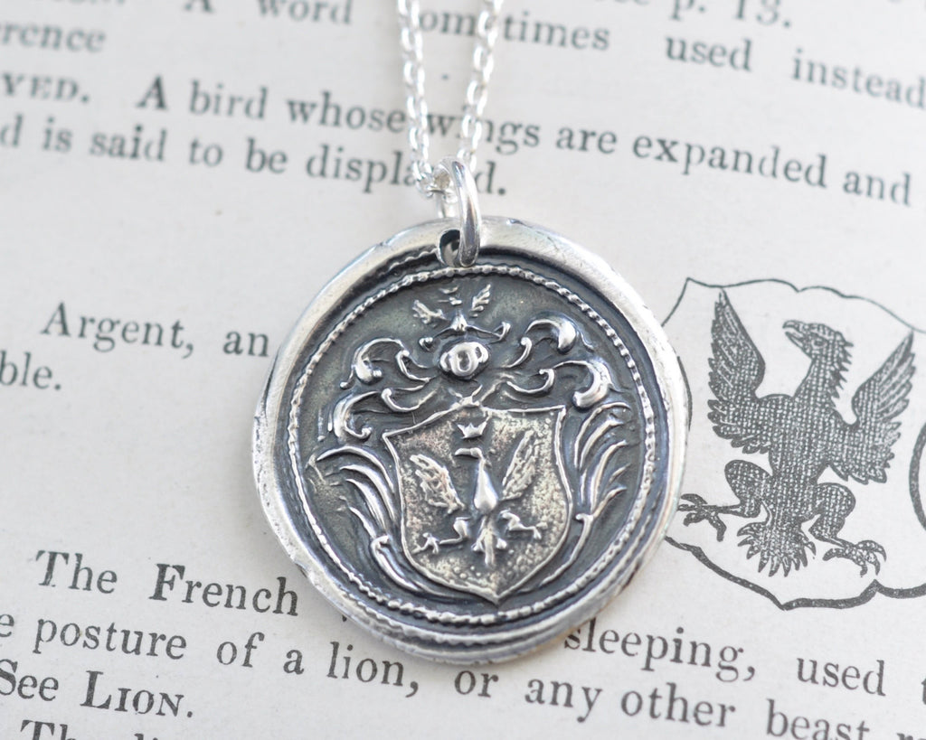 eagle family crest wax seal necklace - strength, bravery, protection