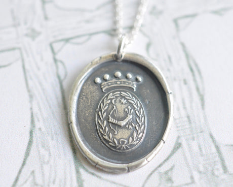 bow and arrow wax seal necklace - power, readiness, triumph