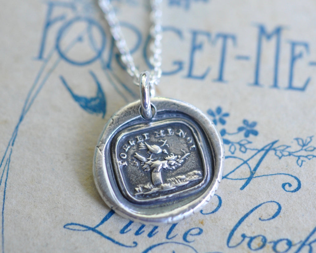 bird with empty nest wax seal necklace - FORGET ME NOT - wax seal jewelry