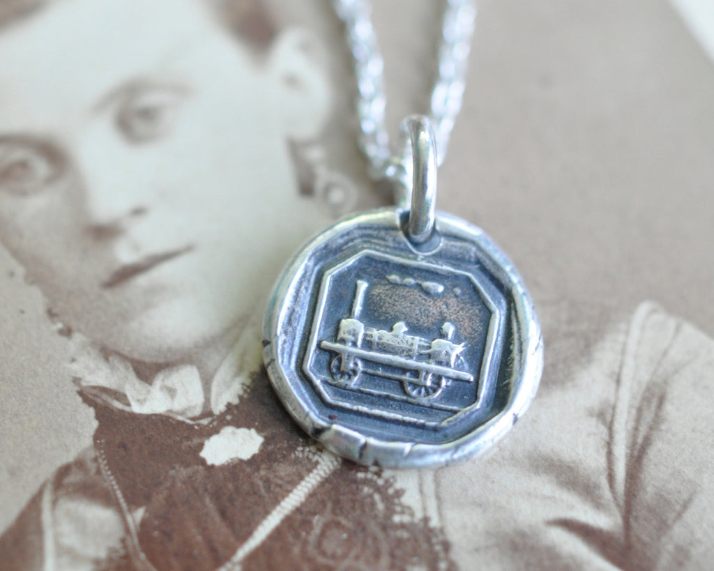 train wax seal necklace - begin your journey - wax seal jewelry