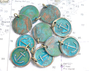 anchor wax seal necklace with a verdigris patina - hope and stability