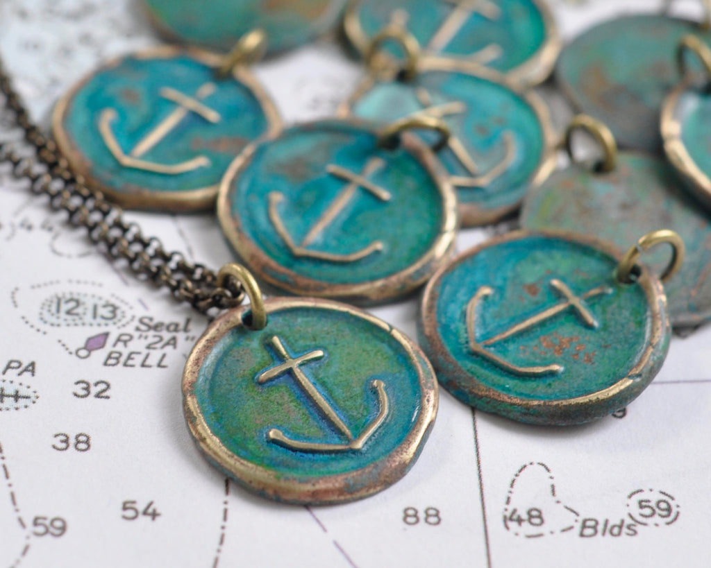 patina anchor wax seal necklace