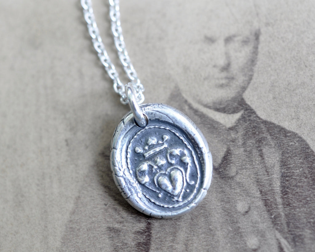 heart under crown wax seal necklace - post medieval wax seal jewelry