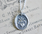heart and crown wax seal necklace