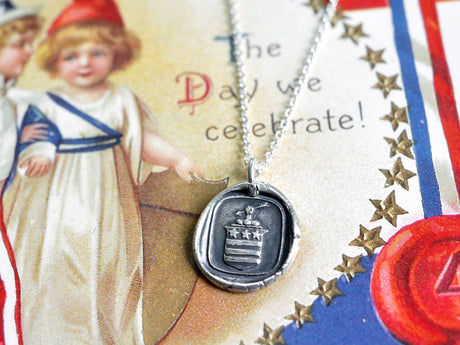stars and stripes wax seal necklace - faith, sincerity, justice - Patriotic necklace