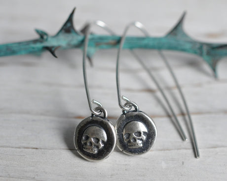 skull drop earrings - sterling silver skull earrings - wax seal jewelry