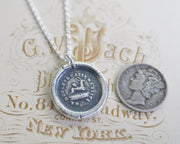 wounded stag buck wax seal necklace - pain makes me flee - wax seal