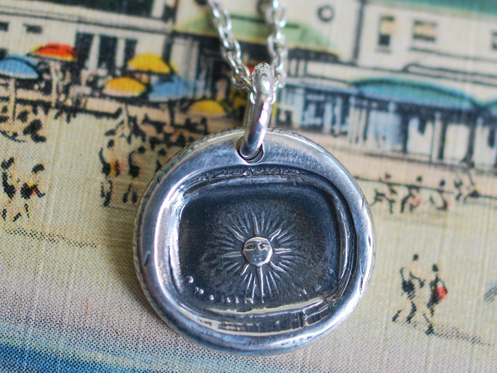 sun wax seal necklace - nothing new under the sun