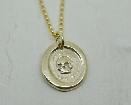 skull wax seal necklace - ES FUI SUM ERIS - 14k gold wax seal jewelry