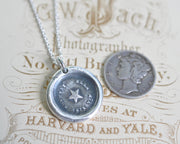 star wax seal necklace - she guides me well - guidance, truth, hope