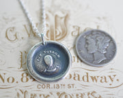 hot air balloon wax seal necklace - BON VOYAGE - a good journey