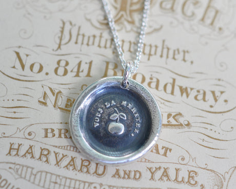 apple wax seal necklace - the golden apple - you deserve it