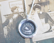 sailing ship on the rocks wax seal necklace - such is life - wax seal