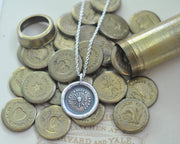 sun wax seal necklace - I never back down - wax seal jewelry