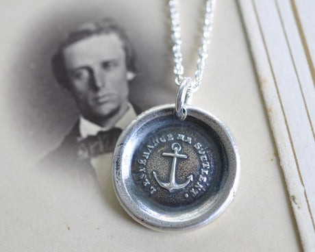 anchor wax seal necklace - hope sustains me - hope, salvation