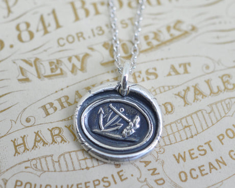anchor wax seal necklace - symbol of hope, stability