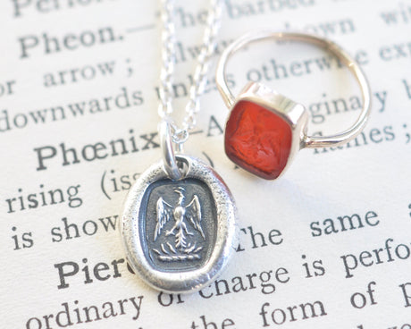 phoenix rising wax seal necklace