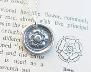tudor rose wax seal necklace