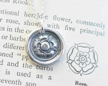 Tudor Rose wax seal necklace - union rose - post medieval wax seal jewelry