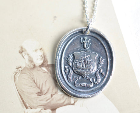 ship and mermaid wax seal necklace - the sentinel sleeps not