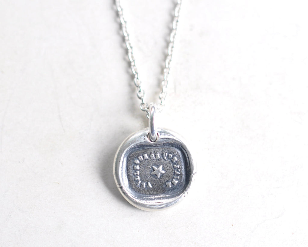 star wax seal necklace pendant - watch over my loved one - French motto