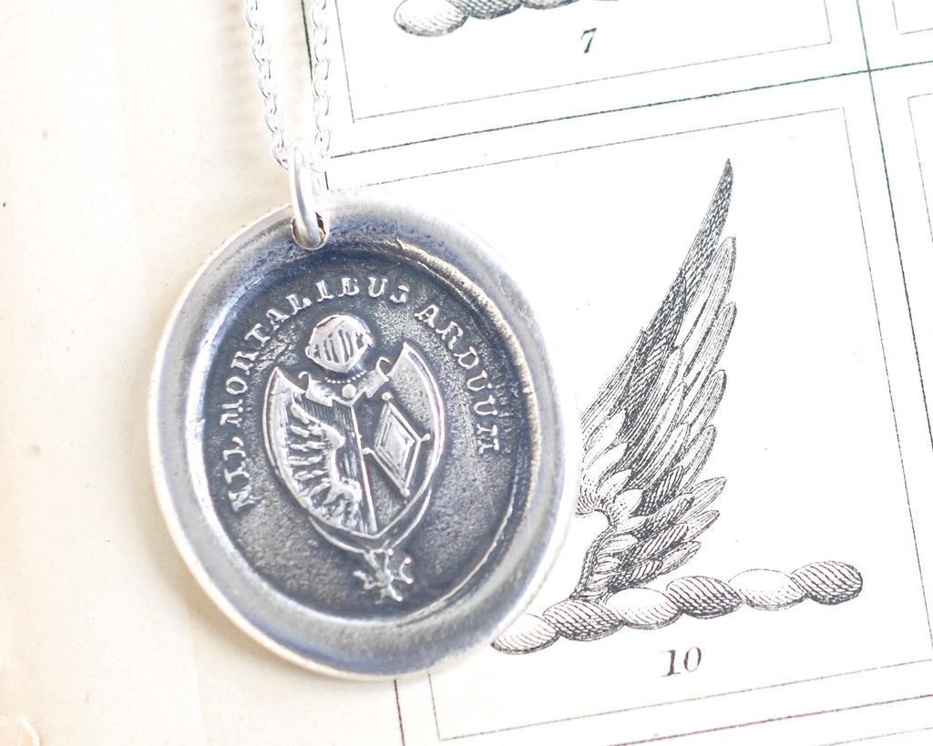 wing wax seal necklace - NIL MORTALIBUS ARDUUM - nothing is impossible