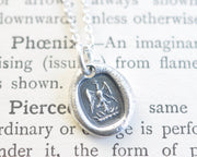 tiny phoenix rising from the ashes wax seal necklace - rise again, rebirth, hope