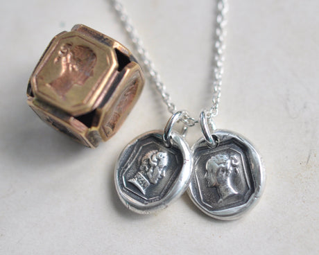 Victoria and Albert wax seal necklace - Queen Victoria and Prince Albert pendant