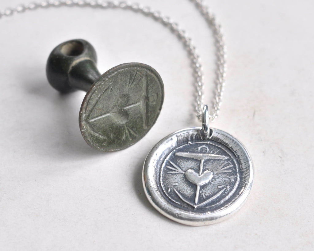 anchor and heart wax seal necklace