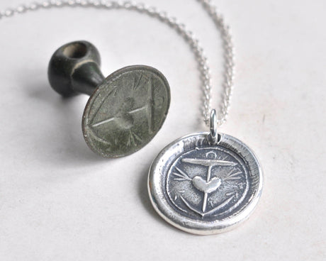 anchor and heart wax seal necklace pendant - hope in you