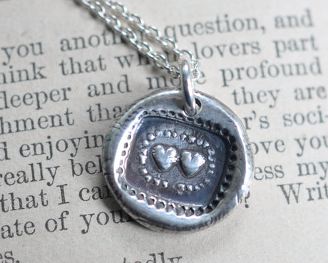 two hearts wax seal necklace - inseparable hearts - wax seal jewelry